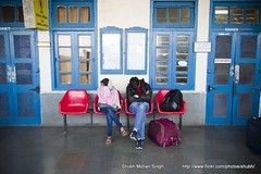 Waiting for the Train (Shubh M Singh) Tags: woman india man station train for shimla simla waiting couple sleep railway symmetry luggage covered wait rest shawl snore indianrailways