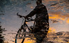 biker (kyramas) Tags: orange lake abstract reflection texture bicycle clouds evening pentax cloudy k7 sigma1770 mywinners