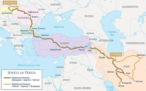 Golden Eagle Danube Express Jewels of Persia map