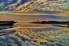 Dawn Photographer at Coalcliff 2 (George & Maree) Tags: morning sunset sea sky cloud sun reflection beach nature sunrise outdoors sand wave nobody beaches coastline bodiesofwater vibrantcolor hdrphotography horizonoverwater travellocations geomarphotography
