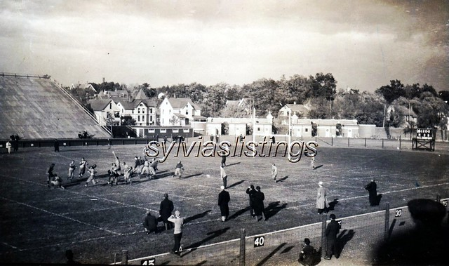 Football practice on Ferry Field, Ann Arbor, Michigan. Postcard postmarked in 1909.