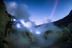 Blue flame at Kawah Ijen (Tonnaja Anan Charoenkal) Tags: blue indonesia landscape fire volcano java mine flame crater sulfer ijen 2013 kawah