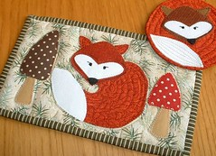 Fox Mug Rug and Coaster (The Patchsmith) Tags: pattern quilt sewing fox quilting toadstool patchwork coaster applique mugrug patchsmith