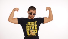 "Indy wrestler Pegasus with a ""Just Give Up"" shirt"