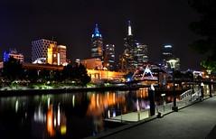 MELBOURNE by Night (RVir5966) Tags: street city bridge light building tower car night painting landscape australia melbourne cbd hd australie slowmotion