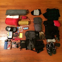 January Bike Camping Gear - Exploded - Packing Photo (joeball) Tags: park camping cold manchester state packing january gear son list 2014 lotsofnotes bikecamping packinglist s24o gearlist