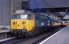 401-12 50041 1401pic-pad Manchester piccadilly 16021988 (Doctor Majuba) Tags: blue english electric logo log large rail class exeter hoover british 50 nse