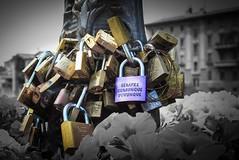 Lovers Padlocks Parma Italy (alan_eccleston) Tags: bridge bw italy lovers parma padlocks verdi selectivecolour loversbridge giuseppeverdi selectiveblackandwhite selectiveblackwhite loverspadlocks