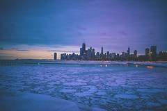 Winter Chicago (Christopher.F Photography) Tags: winter sunset lake snow chicago ice skyline 35mm nikon cityscape f14 sigma d800 vision:sunset=0596 vision:outdoor=099 vision:clouds=0818 vision:sky=0955
