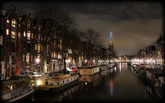 Amsterdam Prinsengracht at Night (Michael Shoop) Tags: travel holland reflection tourism netherlands dutch amsterdam night canon canal europe nederland thenetherlands prinsengracht nl europeanunion noordholland westerkerk canalhouses canon7d michaelshoop