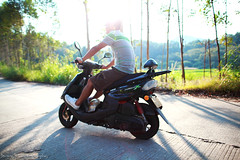 Driving (ojang jerry) Tags: shadow man tree speed eos driving tour young sunny motorbike journey yamaha driver motor ontheroad fascinating 5d2 ef24mml