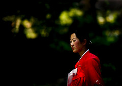 FEMME NORD COREENNE DANS UN JARDIN, COREE DU NORD (Eric Lafforgue Photography) Tags: life voyage travel woman color colour cute sexy girl horizontal asia dress robe feminine femme profile hanbok asie jolie dailylife custom 2008 fille couleur adultsonly reddress northkorea ideology axisofevil eastasia feminin dprk traditionalclothing juche darkbackground coleur viequotidienne seduisante oneyoungwomanonly dictature democraticpeoplesrepublicofkorea koreanpeninsula juchesocialistrepublic coreedunord rdpc koreanethnicity insidenorthkorea joseonot
