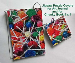 Art Journal Covers Made from Jigsaws (campbelj45ca) Tags: handmadejournals jigsawpuzzles artjournalcover binderrings jigsawcovers