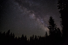 Night Sky over Shaver Lake (adiaphane) Tags: california longexposure sky night stars sierra nightsky sierranevada shaverlake