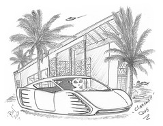 Clarence Cove (rod1691) Tags: bw art scifi alien concept car retro space hotrod pencil original story fantasy funny automotive illistration greyscale moonpies