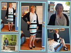 Teal Stripes (krislagreen) Tags: turbocollage tg tgirl transgender transvestite cd crossdress skirt blouse patent heels hose blond feminized feminine feminization femme