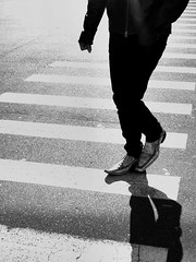 Once you started wearing those shoes (gordgibbs) Tags: crocodile leather crosswalk shining monochrome contrast walker victoria shadow bc vancouverisland shopper jamesbay
