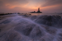 Tranquil Morning (Ravikanth K) Tags: 500px kanyakumari sea rocks arabiansea bayofbengal trivenisangam taminladu vivekananda rock memorial thiruvalluvar statue water waves longexposure landscape seascape india morning sunrise outdoor nopeople dawn