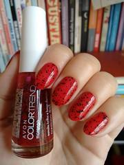 Morango - Avon (Mari Hotz) Tags: vermelho esmalte unha avon gliter glitter