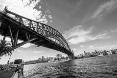 DSC00250 (Damir Govorcin Photography) Tags: sydney harbour bridge sky clouds ferry water wide angle natural light people architecture iconic perspective creative composition zeiss 1635mm sony a7rii buildings monochrome blackwhite