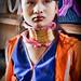 A striking long necked Padaung woman