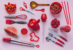 flat lay red (auntneecey) Tags: red pink kitchen fun whimsy odc flatlaycolor 365the2017edition 3652017 day90365 31mar17