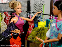 Halle helps Carissa find a dress. (MyDollWorld) Tags: shop doll barbie story boutique dio basics