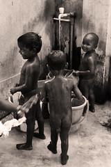 Washtime (sarahparkyn1) Tags: school summer people baby india water smile canon naked children happy photography culture fresh clean kolkata washing indianchildren washtime