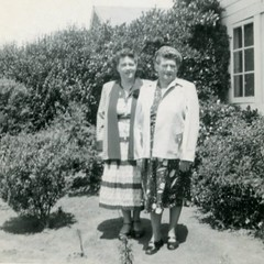 Rose Horn & Her Mother, Mary Corey, in Front of the Little House (K. Horn) Tags: family bw vintage rah aviary hornfamily mec