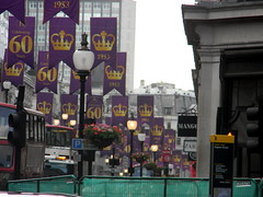Celebrating queens 60 years coronation banners purple gold Regent Street London England 15th June 2013 republic 15-06-2013 17-34-04 (dennoir) Tags: