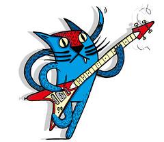 Cat_Rock_Ochre7 (ochre7) Tags: rock illustration cat design feline guitar tshirt illo illustrator tee ochre7