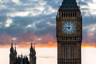 London - Big Ben, Palace of Westminster Clock Tower, Sunset