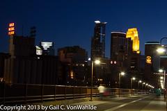 Minneapolis at dusk (gvonwahlde) Tags: city bridge skyline night canon lights dusk minneapolis mn stonearchbridge 60d canoneos60d