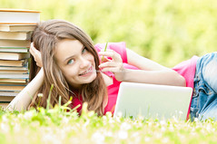 happy student girl lying on grass with laptop computer (Konstantin Yolshin) Tags: park school summer portrait people woman white cute green college girl beautiful beauty smile smiling female youth computer notebook relax happy person book spring student education university pretty outdoor background laptop joy young lifestyle happiness study teen attractive learning teenager casual leisure cheerful relaxation lying relaxed studying learn 20s caucasian