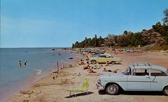Boiler Beach, Kincardine ON (SwellMap) Tags: people sun beach vintage pose advertising fun person photography design pc 60s surf fifties postcard snapshot suburbia fake posing style kitsch retro nostalgia chrome americana leisure 50s persons roadside populuxe crowds sixties babyboomer consumer groups coldwar midcentury atomicage