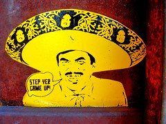 Step Yer Game Up (See El Photo) Tags: street streetart sticker stickerart yellow sombrero hat mustache man guy dude urban urbanart game stepyergameup saying words statement color 2color red redish california colorful colour colore city cityofangeles couleur cali latin nikon e3200 digital comic comix mexican faved fav favorite 15fav smile grin
