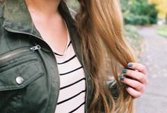 Stripes (Emma Vaincourt) Tags: film fashion shirt hair hands hand stripes nails militaryjacket