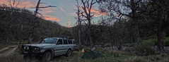 PANORAMA-IMG_9562-9580 (Robert Watson x) Tags: camping trees sunset camp panorama tree water grass night forest river relax landscape outdoors fire gold evening bush woods track driving offroad 4x4 outdoor hill australian dream australia 4wd tent dreaming dirt trail shade toyota end pan wilderness macquarie panning landcruiser bathurst swag hdr wheeling ophir bridle turon fossicking goldpanning
