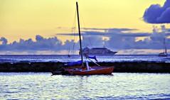 Catamaran and Ocean Liner at Waikiki (lhg_11, 2million views. Thank you!) Tags: vacation beach clouds sailboat waikiki oahu dusk jetty catamaran cruiseship honolulu hawaiianislands
