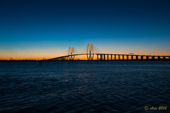 Fred Hartman Bridge (Arie's Photography) Tags: nightphotography sunset beach water nikon texas unitedstates baytown houston barges shipchannel laporte fredhartman d90 fredhartmanbridge oilrefinary shipchannelbridge baytownwaterfrontdistrict