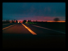 On the road again... (Alex-W.) Tags: lightpainting soleil ciel voitures matin phares flickrandroidapp:filter=salamander