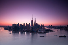 Lujiazui (HIKARU Pan) Tags: city horizontal skyline night sunrise landscape photography asia cityscape shanghai aerialview wideangle landmark clear pudong lujiazui huangpuriver china1 orientalpearltvtower 1dx canonef1635mmf28liiusm eos1dx vision:sunset=067 vision:outdoor=0964 vision:clouds=0768 vision:sky=0972 vision:dark=0589