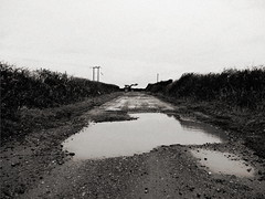 blackandwhite bw tractor puddle