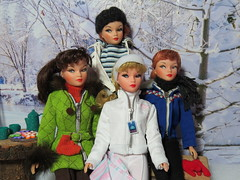 (25) Sisters United (Foxy Belle) Tags: trees winter sky snow ted ski scale sport miniature clothing doll background coat barbie 16 ideal miss suzette diorama uneeda