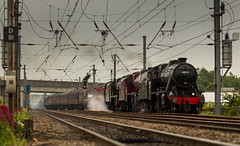 LMS Loco's no's 48151, 45699 & 46115 at Newark Hatchets Lane Foot Crossing on 30-05-2014 with 5Z70 Carnforth to Dereham (kevaruka) Tags: clouds train canon flickr may special explore newark frontpage 70200 britishrail nottinghamshire charter steamtrain carnforth 2014 lms drearyday londonmidlandscottish 48151 45699 46115 spring2014 ilobsterit