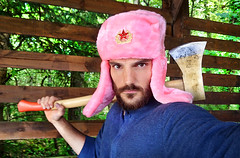 Russian Hat (Ben Heine) Tags: wood pink wild portrait man nature face hat rose scary funny cut freaky freak axe hache woodcutter sauvage russianhat chapka benheine bcheron russua chapkarusse