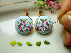 POLYMER CLAY EARRINGS (Magdalena Pavlovic) Tags: sakura cherry polymerclay handmade handmadeearrings handmadejewelry clay filigree flowers floral fimo flickr facebook floraldesign filligree feminen forest crystals crafts colorful craft