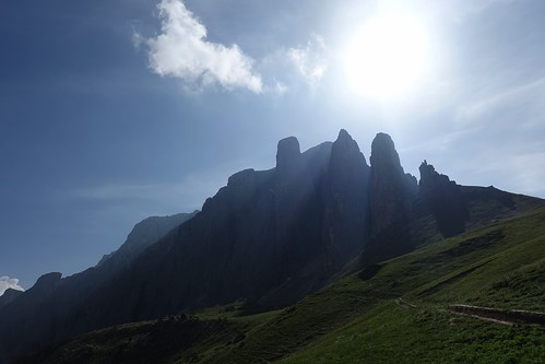 Looking up at the Sella Massif