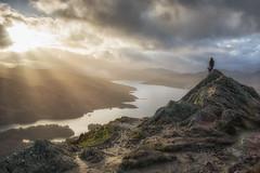 Skye and I up Ben A'an this evening (Katherine Fotheringham) Tags: ben aan scotland border collie selfie sunlight loch katrine