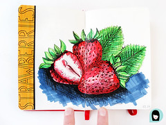 Dessin_Fraises_Rouges (kristellw) Tags: fraises strawberries fruits drawing dessin summer